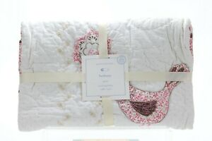 Pottery Barn Kids Bethany Crib Toddler Quilt 100% Organic Cotton Pink Bird NWT!