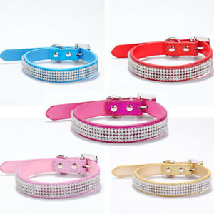 Colorful Bling Rhinestone Crystal Puppy Dog Cat Necklace Pu Leather Collar XS-L