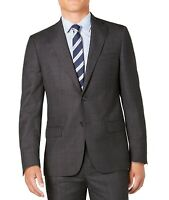 DKNY Mens Blazer Gray Size 38 Short Nail Head Plaid Slim Fit Wool $525 #051