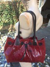 ALLA Leather Art Red/brown Snake Embossed Empire Large Handbag/shoulder Bag