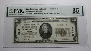 $20 1929 Washington Indiana IN National Currency Bank Note Bill Ch. #3842 VF35