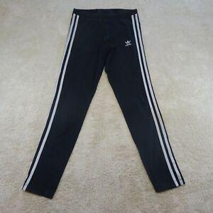 Adidas Pants Women Small UK 10 Leggings Black White Spell Out Logo Gym Ladies *