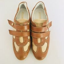 JEANNOT Womens Shoes Leather Tan Beige  Oxford Hook Loop Made In Italy Sz EU 38