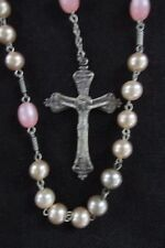Beautiful Faux Pearl And Opalescent Pink Glass Bead Rosary - Vintage Sterling