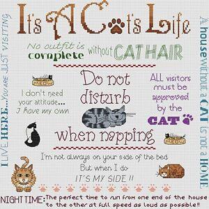 It's A Cat's Life Cross Stitch Design (kit or chart)