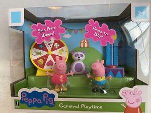 PEPPA PIG CARNIVAL PLAYTIME Playset Figures George Peppa Panda NIB Jazwares