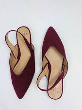 A New Day Pam V Throat Sling Back Mules Burgundy Womens Shoe ALL SIZES