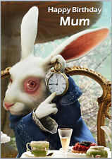 White Rabbit Time Alice In Wonderland Birthday Card A5 Personalised own words