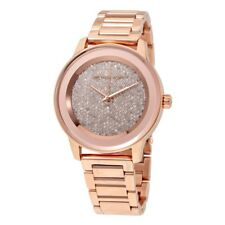 MICHAEL KORS MK6210 WOMEN'S KINLEY CRYSTAL PAVE DIAL ROSE GOLD-TONE WATCH