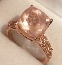 10K Rose  Gold Cushion Cut Morganite With Diamond Filigree Ring
