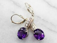 3.5 Ct Oval Amethyst & CZ Womens Dangle Leverback Earring 14k Yellow Gold Finish