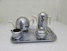 Vintage Art Deco Style Chrome Heatmaster Tea/Coffee Set, Teapot, Coffeepot, Milk