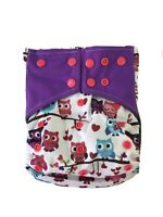 Cloth Diaper Cover Bamboo Charcoal OS 7-35 Lb Reusable Washable Owls USA SELLER