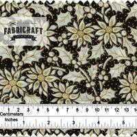 Christmas Fabric Gold Holly diamond pattern on black 100/% cotton 1 metre