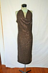 Vtg Original Halston Halter Chocolate Brown Sequined Evening Gown Classic