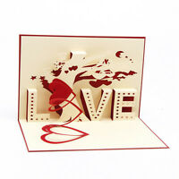 3D Pop Up Greeting Cards LOVE Wedding Birthday Valentines Anniversary Thank Gift