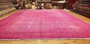 """Primitive Vintage 1940-1960's Over Dye,Wool Pile Oushak Rug 7'7""""×11'1"""""""