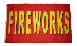 3x5 Advertising FIREWORKS Red and Yellow Premium Quality Flag 3'x5' Grommets