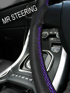 FOR JEEP PATRIOT 2006-10 BLACK LEATHER STEERING WHEEL COVER PURPLE DOUBLE STITCH