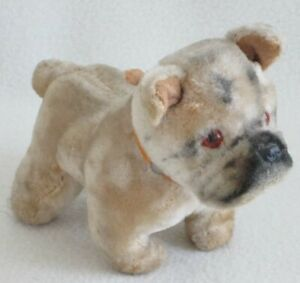 Sweet Vintage Mohair Bulldog-Made in Japan-Glass Eyes-Original Leather Collar