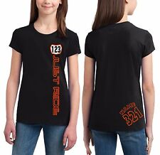 MOTO GIRL NUMBER PLATE T SHIRT YOUTH JUST RIDE RACE MX MOTOCROSS