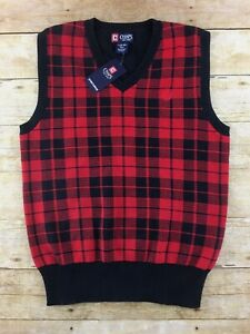 NWT Chaps Sweater Vest Boys Large 14-16 Plaid Holiday Christmas Preppy Cotton