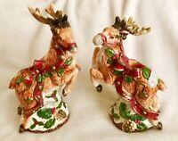 New Fitz & Floyd Reindeer Kris Kringle 1993 Candle Holders Original Sticker 9 In