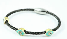 Vintage Stainless Steel White Crystals Black Tone Blue Evil Eye Hamsa Bracelet