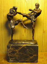 CHRISTMAS GIFT - MUAY THAI BOXING  BRONZE WITH MARBLE STATUE