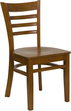 20 Wood Frame Cherry Finish Ladder Back Restaurant Chairs w/ Matching Wood Seat