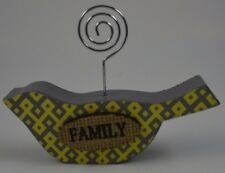 """Family Inspirational Picture Photo Message Note Holder Bird 4"""" Yellow Gray #58"""