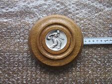 Kegelplakette, Metallemblem im Holzrahmen, Handarbeit, ca. 13 cm, siehe Fotos