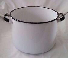 Vintage Enamelware Stock Pot White w/Black Trim Large