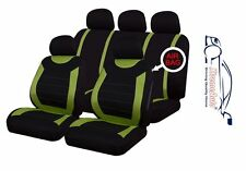 9 PCE Sports Carnaby Green/ Black Full Set of Seat Covers Chevrolet Alero, Aveo