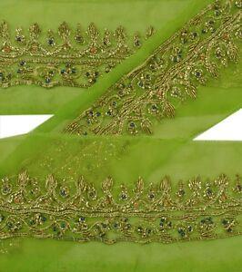 Sanskriti Vintage Sari Border Indian Craft Green Trim Hand Beaded Sewing Lace