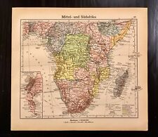 Vintage 1928 Map of Middle and South Africa Leaf Westermann Colorful Vibrant VG