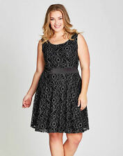 Autograph Black metallic detail lace over satin waist Dinner party DRESS size 20