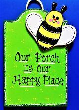 Porch Happy Place Bumblebee Sign Deck Backyard Patio Bee Seasonal Decor Plaque