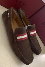 New $590 Bally Men Pearce Suide Driver Loafers Shoes Coffee 11 US Italy