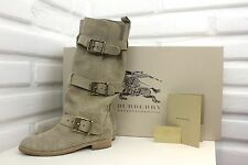 BURBERRY Belted Flat Suede Desert Beige Boots Shoes Sz 38.5 Orig. $750