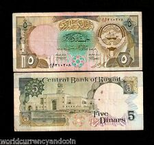 KUWAIT 5 DINARS P20 1992 BOAT FLAG RARE SIGN GULF GCC CURRENCY MONEY ARAB NOTE