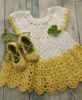 6-12 month Baby Girl Crochet Dress And Lace Up Ballerina Shoes
