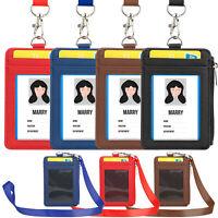 Lanyard Holder Wallet Badge Neck Strap Credit Card Business 4 Slot w/ ID Window