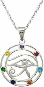 925 Sterling Silver Chakra Stones Eye Pendant Necklace for Women and Girls