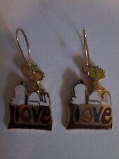 SNOOPY & WOODSTOCK LOVE AVIVA BRAND VALENTINE EARRINGS NEW, MINT!