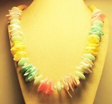 Vintage 60's Long Chunky Seashell Shell Wood Plastic Bead Necklace Multi Color
