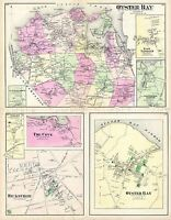 MAP ANTIQUE 1873 BEERS HICKSVILLE OYSTER BAY NEW YORK REPRO POSTER PRINT PAM1916