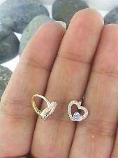 14K Yellow Gold Two Tone Diamond Kids Baby Children's Heart Huggies Earrings