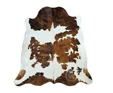 New COWHIDE RUG TRICOLOR 6'x7' Cow Skin Rug Leather Cow Hide