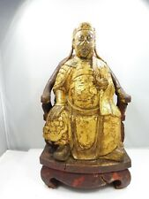 SUPERB ANTIQUE CHINESE QING DYNASTY CARVED WOOD BUDDHA W ORIGINAL PAINT SIGNED